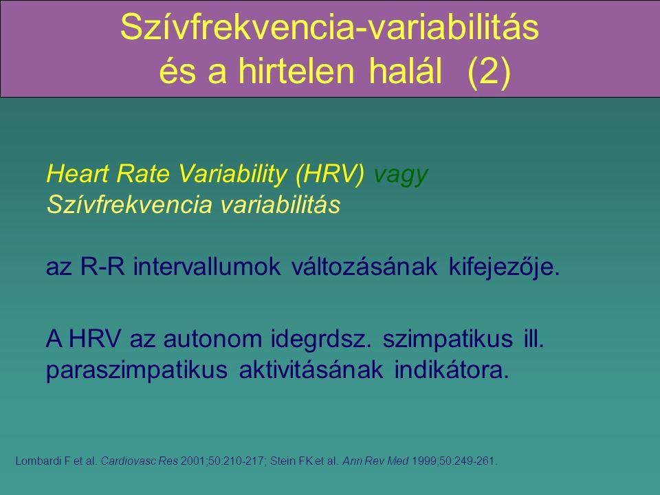 Szívfrekvencia-variabilitás és a hirtelen halál (2) Heart Rate Variability (HRV) vagy Szívfrekvencia variabilitás az R-R intervallumok változásának kifejezője.