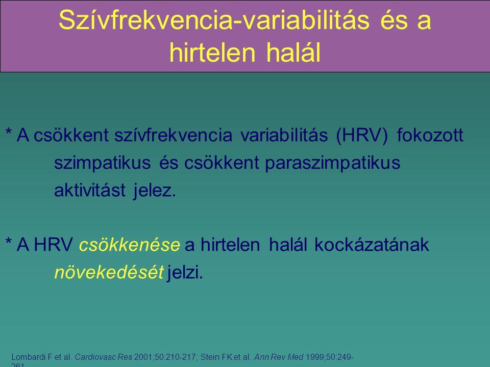 Szívfrekvencia-variabilitás és a hirtelen halál * A csökkent szívfrekvencia variabilitás (HRV) fokozott szimpatikus és csökkent paraszimpatikus aktivitást jelez.
