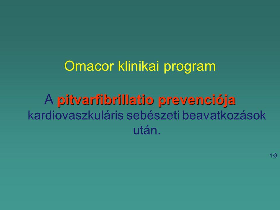 Omacor klinikai program pitvarfibrillatio prevenciója A pitvarfibrillatio prevenciója kardiovaszkuláris sebészeti beavatkozások után.