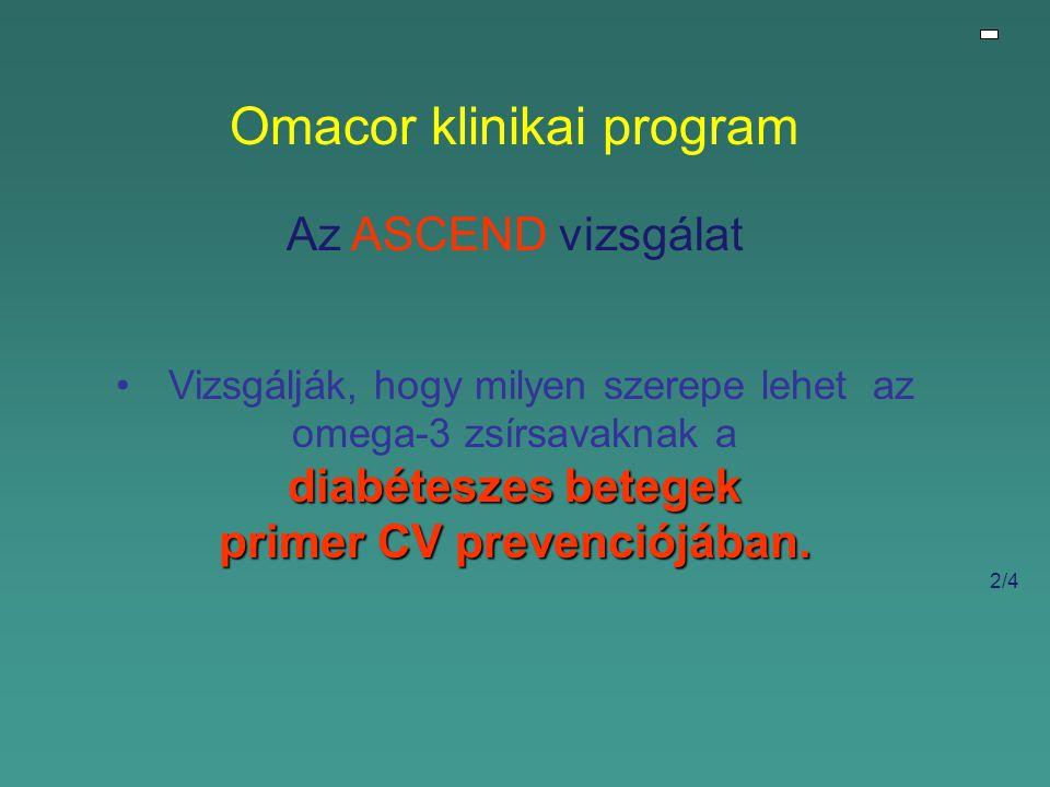 Omacor klinikai program Az ASCEND vizsgálat Vizsgálják, hogy milyen szerepe lehet az omega-3 zsírsavaknak a diabéteszes betegek primer CV prevenciójában.