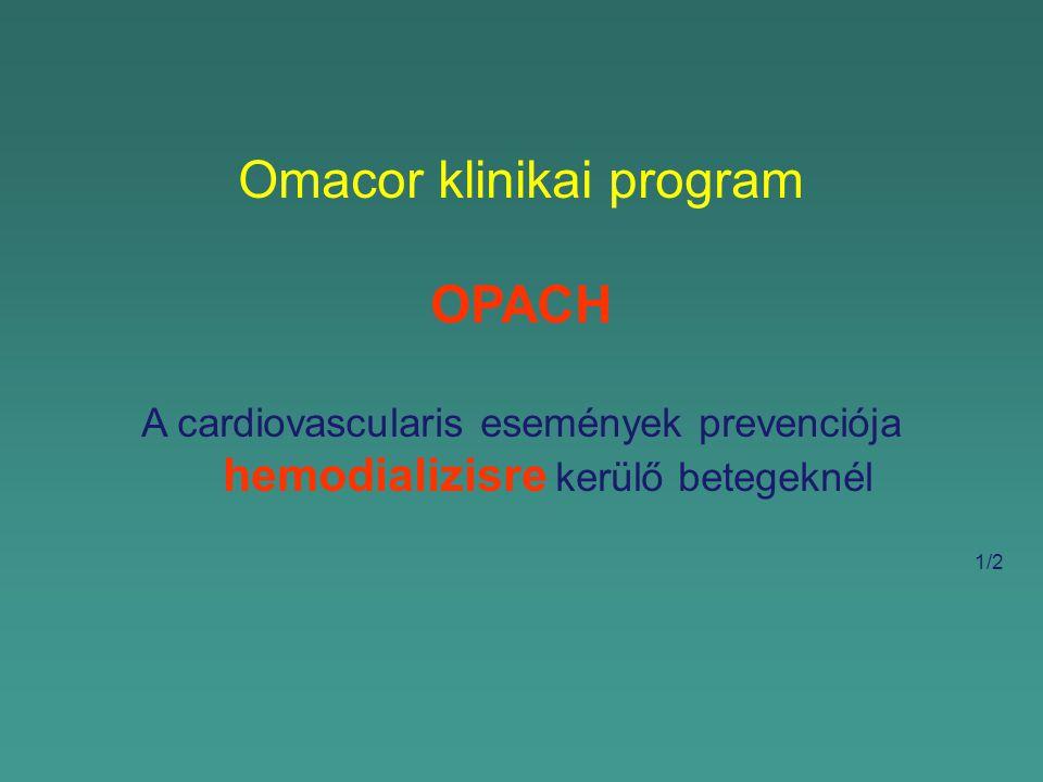 Omacor klinikai program OPACH A cardiovascularis események prevenciója hemodializisre kerülő betegeknél 1/2