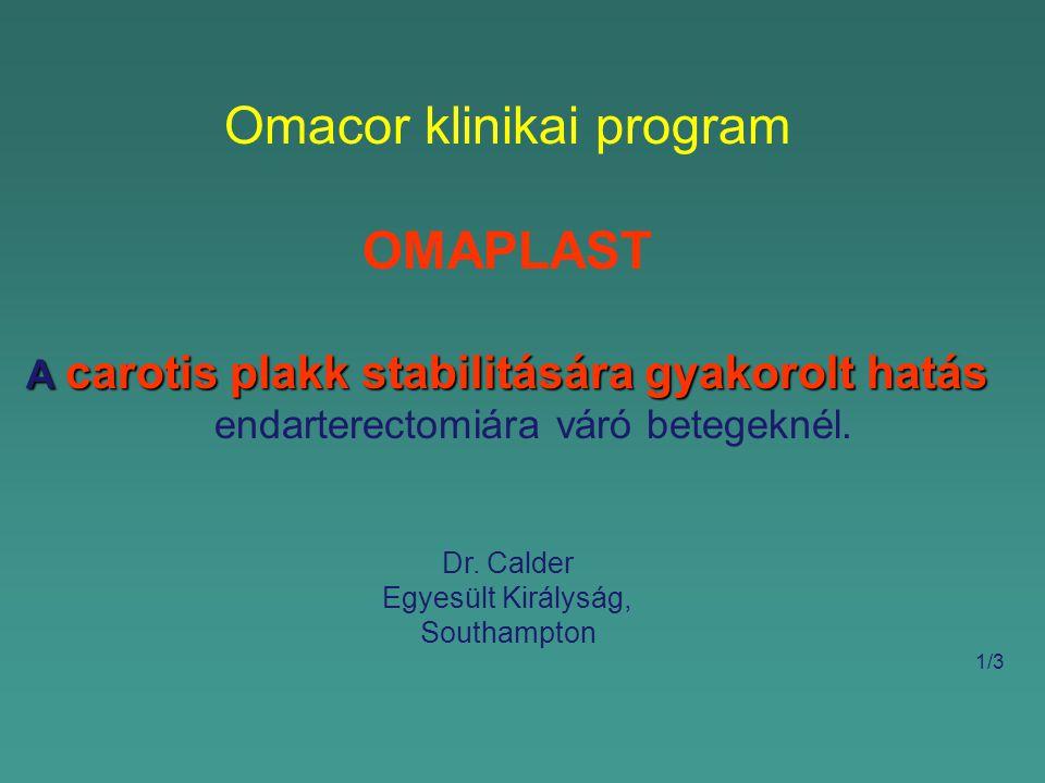 Omacor klinikai program OMAPLAST A carotis plakk stabilitására gyakorolt hatás A carotis plakk stabilitására gyakorolt hatás endarterectomiára váró betegeknél.