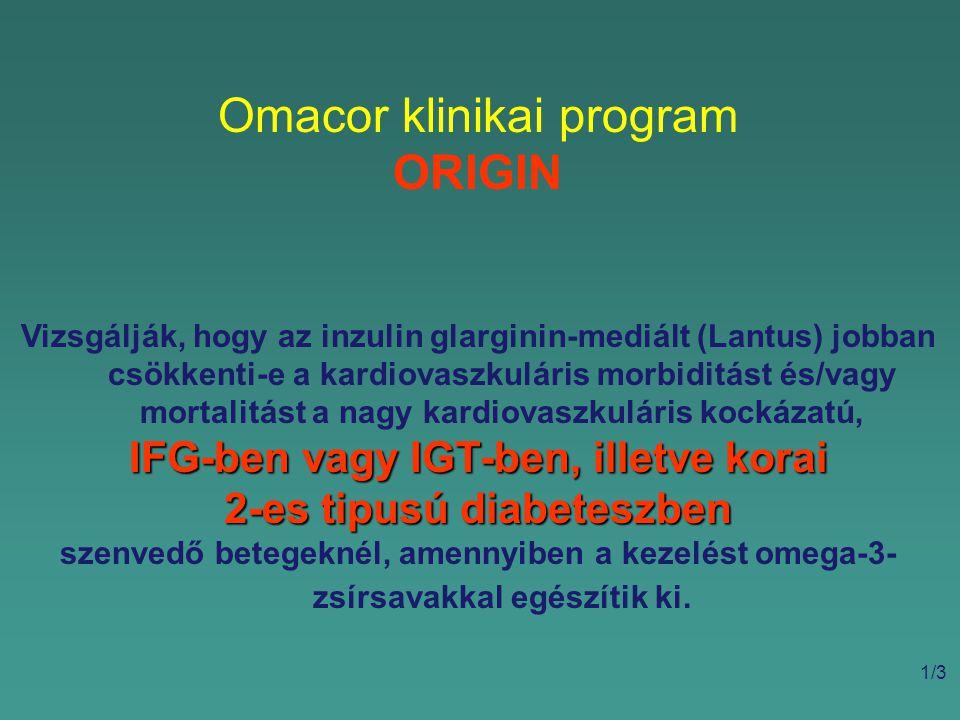 Omacor klinikai program ORIGIN Vizsgálják, hogy az inzulin glarginin-mediált (Lantus) jobban csökkenti-e a kardiovaszkuláris morbiditást és/vagy mortalitást a nagy kardiovaszkuláris kockázatú, IFG-ben vagy IGT-ben, illetve korai 2-es tipusú diabeteszben szenvedő betegeknél, amennyiben a kezelést omega-3- zsírsavakkal egészítik ki.