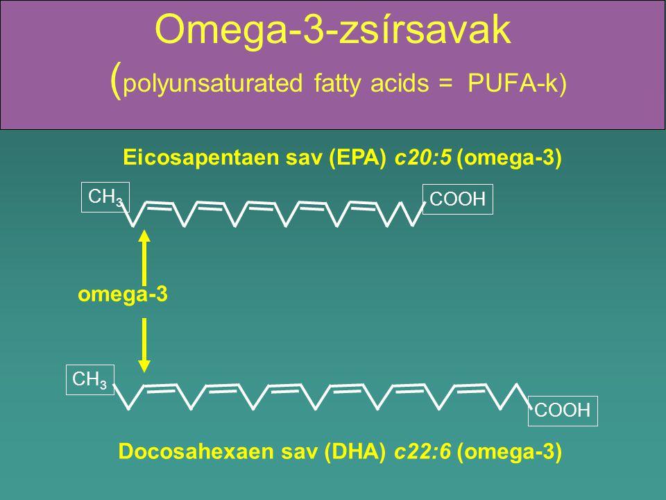 Omega-3-zsírsavak ( polyunsaturated fatty acids = PUFA-k) Docosahexaen sav (DHA) c22:6 (omega-3) Eicosapentaen sav (EPA) c20:5 (omega-3) omega-3 CH 3 COOH CH 3 COOH