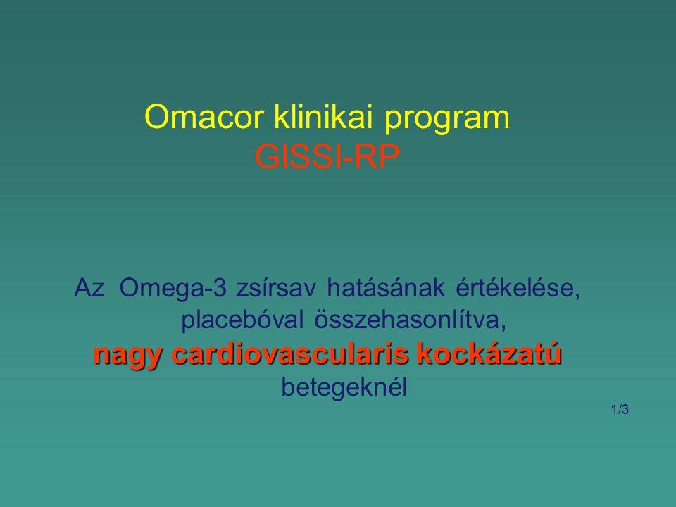 Omacor klinikai program GISSI-RP Az Omega-3 zsírsav hatásának értékelése, placebóval összehasonlítva, nagy cardiovascularis kockázatú nagy cardiovascularis kockázatú betegeknél 1/3