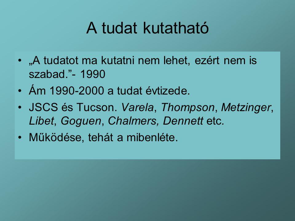 """A tudat kutatható """"A tudatot ma kutatni nem lehet, ezért nem is szabad. - 1990 Ám 1990-2000 a tudat évtizede."""