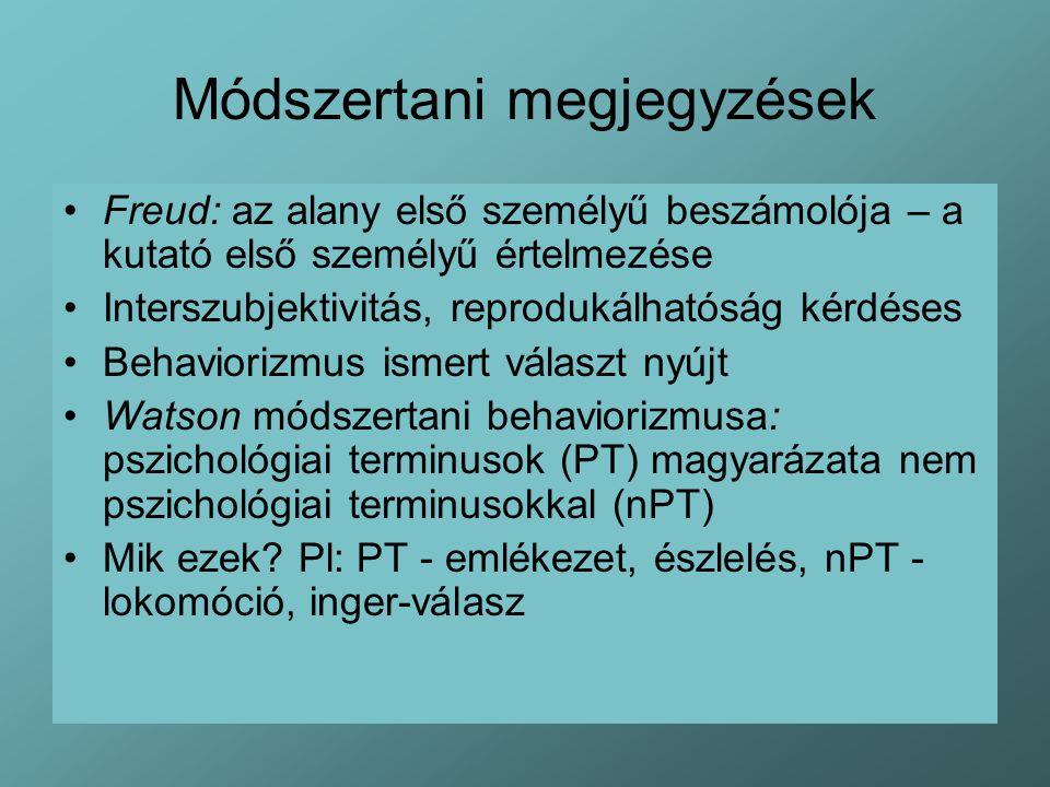 Módszertani megjegyzések Freud: az alany első személyű beszámolója – a kutató első személyű értelmezése Interszubjektivitás, reprodukálhatóság kérdéses Behaviorizmus ismert választ nyújt Watson módszertani behaviorizmusa: pszichológiai terminusok (PT) magyarázata nem pszichológiai terminusokkal (nPT) Mik ezek.