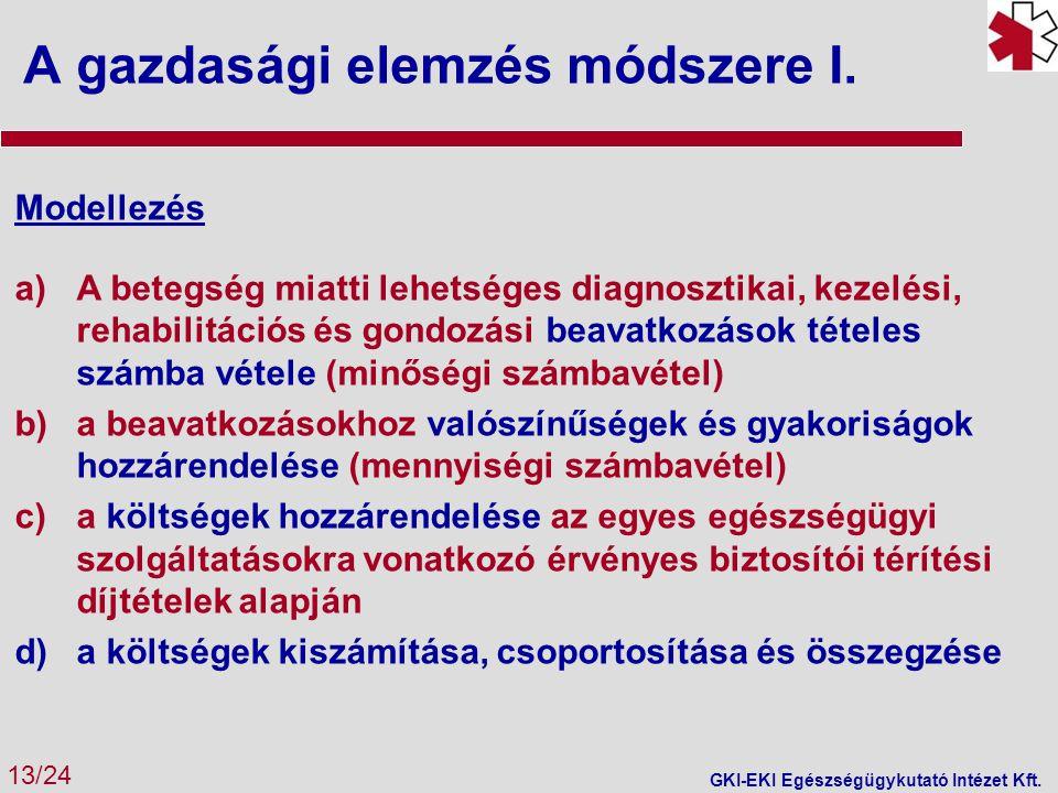 A gazdasági elemzés módszere I. 13/24 GKI-EKI Egészségügykutató Intézet Kft. Modellezés a)A betegség miatti lehetséges diagnosztikai, kezelési, rehabi