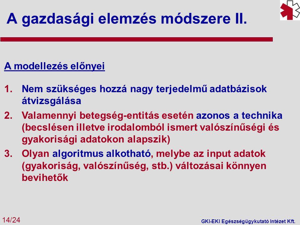 A gazdasági elemzés módszere II. 14/24 GKI-EKI Egészségügykutató Intézet Kft. A modellezés előnyei 1.Nem szükséges hozzá nagy terjedelmű adatbázisok á