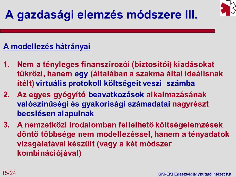 A gazdasági elemzés módszere III. 15/24 GKI-EKI Egészségügykutató Intézet Kft. A modellezés hátrányai 1.Nem a tényleges finanszírozói (biztosítói) kia
