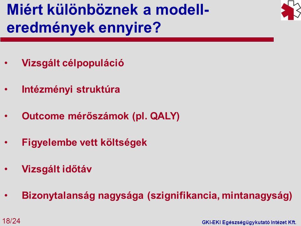 Miért különböznek a modell- eredmények ennyire? 18/24 GKI-EKI Egészségügykutató Intézet Kft. Vizsgált célpopuláció Intézményi struktúra Outcome mérősz