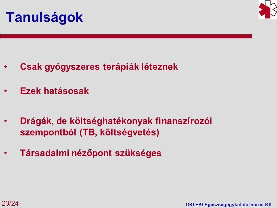 Tanulságok 23/24 GKI-EKI Egészségügykutató Intézet Kft. Csak gyógyszeres terápiák léteznek Ezek hatásosak Drágák, de költséghatékonyak finanszírozói s
