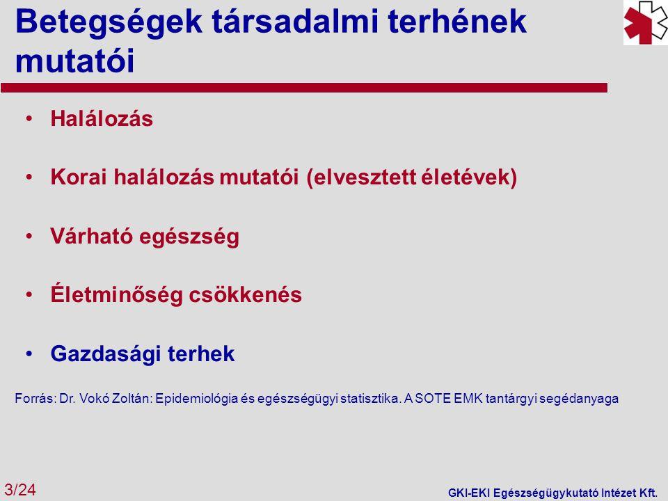 Betegségek társadalmi terhének mutatói 3/24 GKI-EKI Egészségügykutató Intézet Kft. Halálozás Korai halálozás mutatói (elvesztett életévek) Várható egé