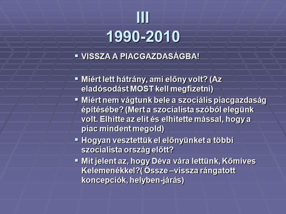 III 1990-2010  VISSZA A PIACGAZDASÁGBA. Miért lett hátrány, ami előny volt.