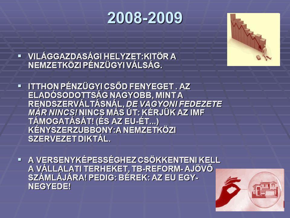 2008-2009  VILÁGGAZDASÁGI HELYZET:KITÖR A NEMZETKÖZI PÉNZÜGYI VÁLSÁG.