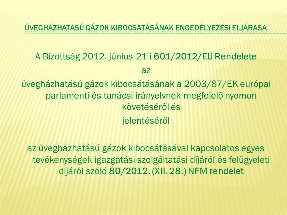 A Bizottság 2012. június 21-i 601/2012/EU Rendelete az üvegházhatású gázok kibocsátásának a 2003/87/EK európai parlamenti és tanácsi irányelvnek megfe
