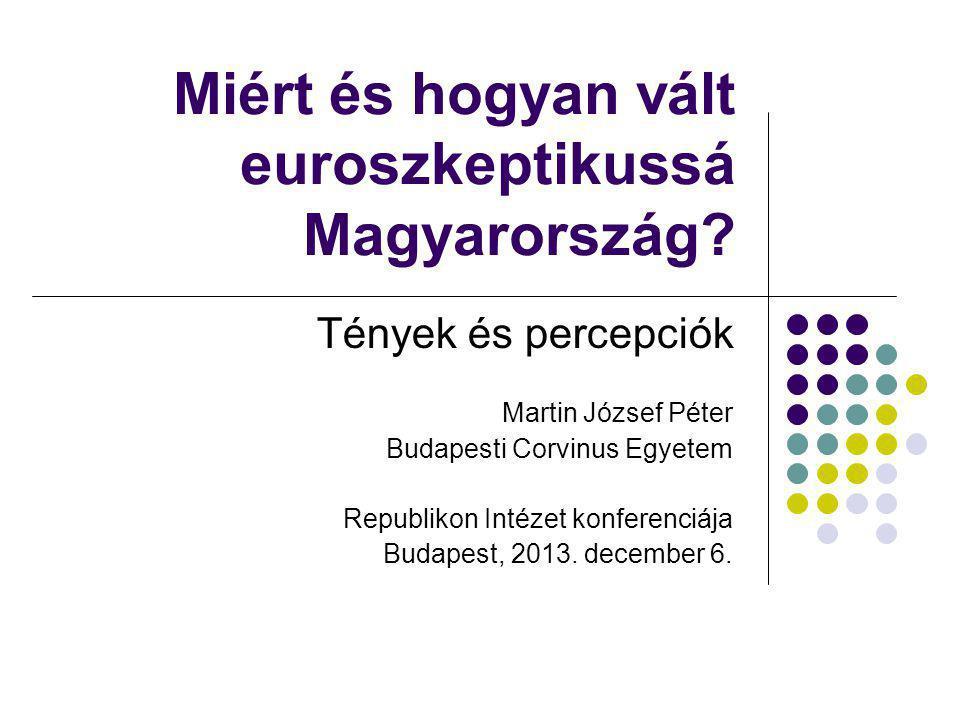Magyarország és Lengyelország: EU-politikai paradoxon MAGYARORSZÁG Gazdaságpolitika Az elmúlt bő tíz év: a bizalmatlanság által katalizált ördögi körök rendszere (Muraközy, 2012), éllovasból sereghajtó EU-politika 2010-ig a kikacsintások (gázvezeték- vita) ellenére jobbára EU-párti politikai deklarációk 2010 után feszült EU-magyar viszony Az EU megítélése Tartósan rossz LENGYELORSZÁG Gazdaságpolitika Sokáig pragmatikus gazdaságpolitika (Győrffy, 2012), az EU keleti sikerállama EU-politika 2007-ig: erősen EU-ellenes kormányzás (Kaczynski-ikrek) Utána: EU-barát kormány(Tusk) Az EU megítélése Tartósan jó Meglepő módon már a Kaczynski- kormány alatt is : EU-politikai paradoxon (ez a gazdasági helyzetre és annak megítélésére vezethető vissza)