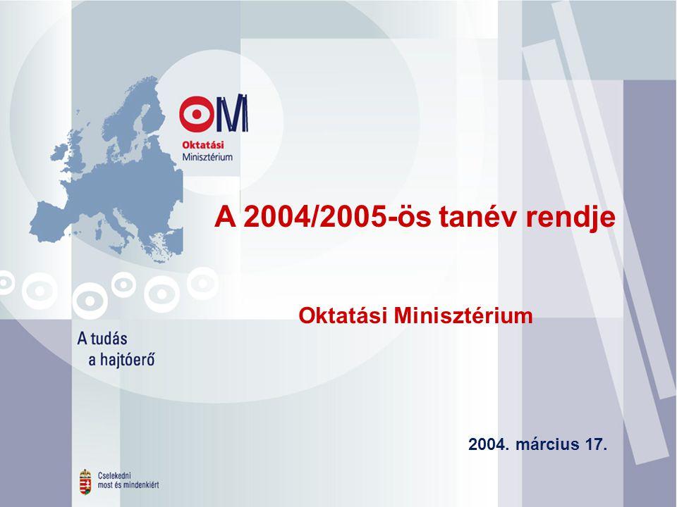 A 2004/2005-ös tanév rendje Oktatási Minisztérium 2004. március 17.