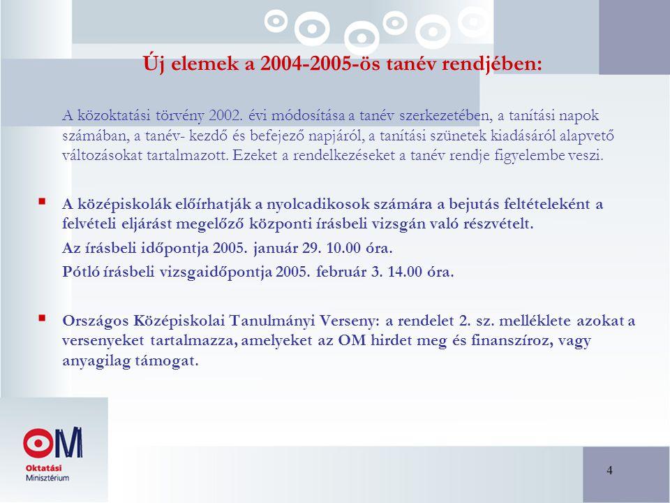 4 Új elemek a 2004-2005-ös tanév rendjében: A közoktatási törvény 2002.