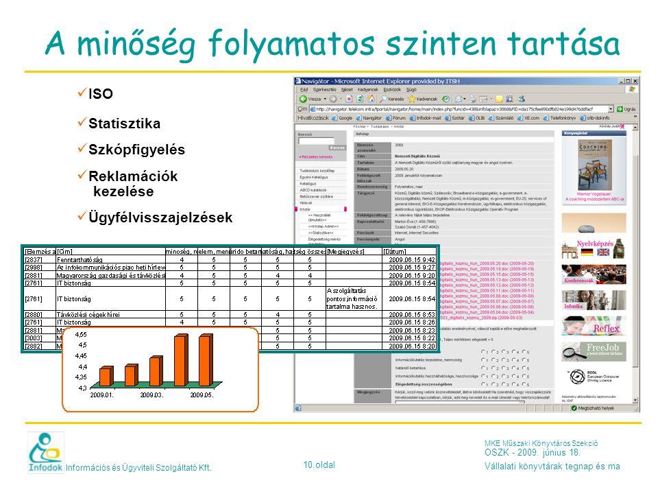 Információs és Ügyviteli Szolgáltató Kft. 10.oldal MKE Műszaki Könyvtáros Szekció OSZK - 2009. június 18. Vállalati könyvtárak tegnap és ma A minőség