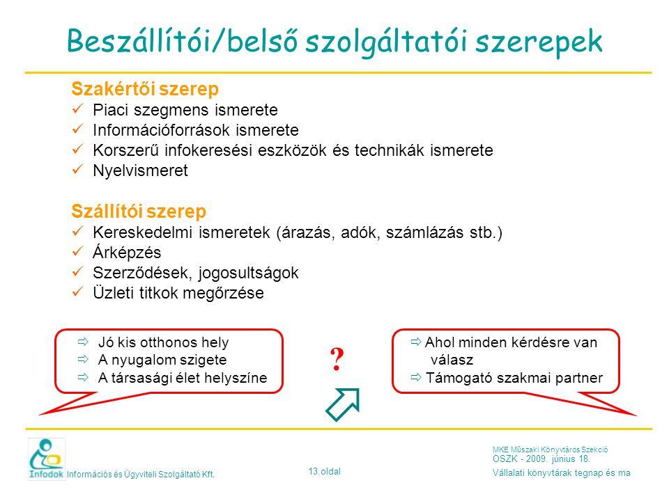Információs és Ügyviteli Szolgáltató Kft. 13.oldal MKE Műszaki Könyvtáros Szekció OSZK - 2009.