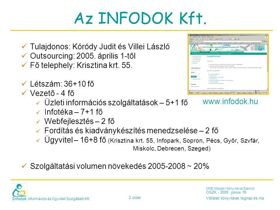 Információs és Ügyviteli Szolgáltató Kft. 2.oldal MKE Műszaki Könyvtáros Szekció OSZK - 2009. június 18. Vállalati könyvtárak tegnap és ma Az INFODOK