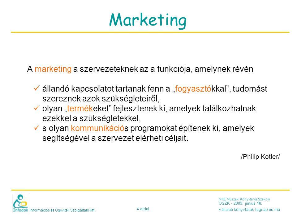 Információs és Ügyviteli Szolgáltató Kft. 4.oldal MKE Műszaki Könyvtáros Szekció OSZK - 2009.