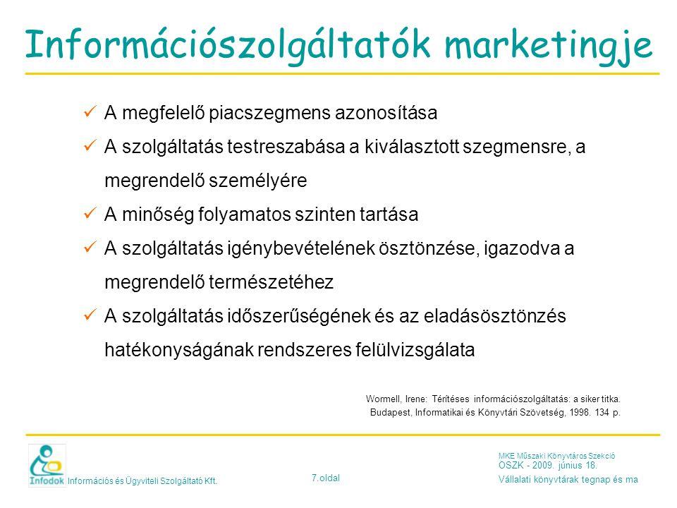 Információs és Ügyviteli Szolgáltató Kft. 7.oldal MKE Műszaki Könyvtáros Szekció OSZK - 2009.
