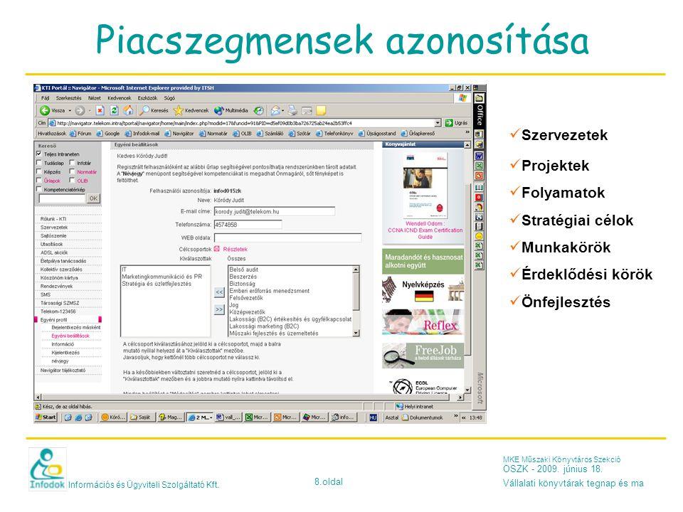Információs és Ügyviteli Szolgáltató Kft. 8.oldal MKE Műszaki Könyvtáros Szekció OSZK - 2009. június 18. Vállalati könyvtárak tegnap és ma Piacszegmen