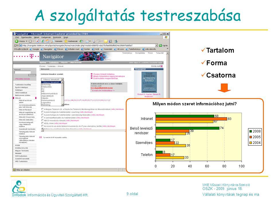 Információs és Ügyviteli Szolgáltató Kft. 9.oldal MKE Műszaki Könyvtáros Szekció OSZK - 2009.