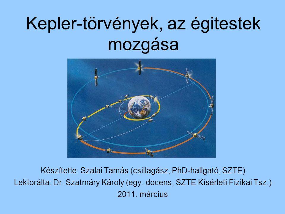 Kepler-törvények, az égitestek mozgása Készítette: Szalai Tamás (csillagász, PhD-hallgató, SZTE) Lektorálta: Dr.