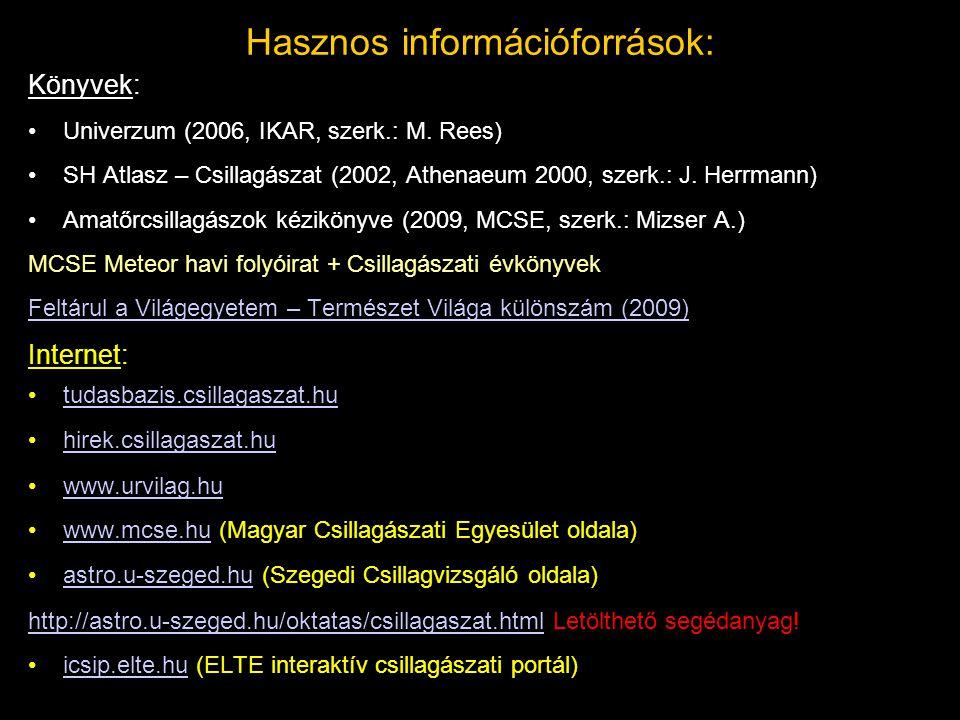 Hasznos információforrások: Könyvek: Univerzum (2006, IKAR, szerk.: M. Rees) SH Atlasz – Csillagászat (2002, Athenaeum 2000, szerk.: J. Herrmann) Amat