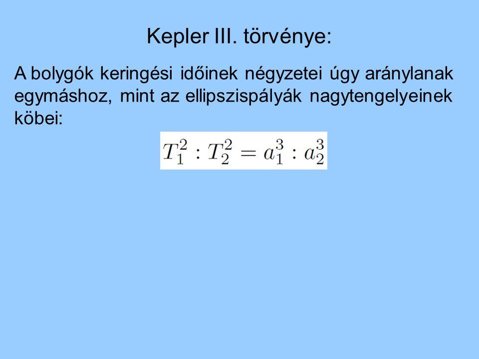 Kepler III. törvénye: A bolygók keringési időinek négyzetei úgy aránylanak egymáshoz, mint az ellipszispályák nagytengelyeinek köbei: