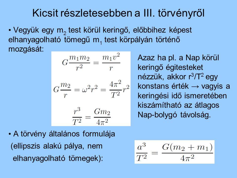 Kicsit részletesebben a III. törvényről Vegyük egy m 2 test körül keringő, előbbihez képest elhanyagolható tömegű m 1 test körpályán történő mozgását: