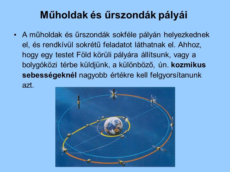 Műholdak és űrszondák pályái A műholdak és űrszondák sokféle pályán helyezkednek el, és rendkívül sokrétű feladatot láthatnak el. Ahhoz, hogy egy test