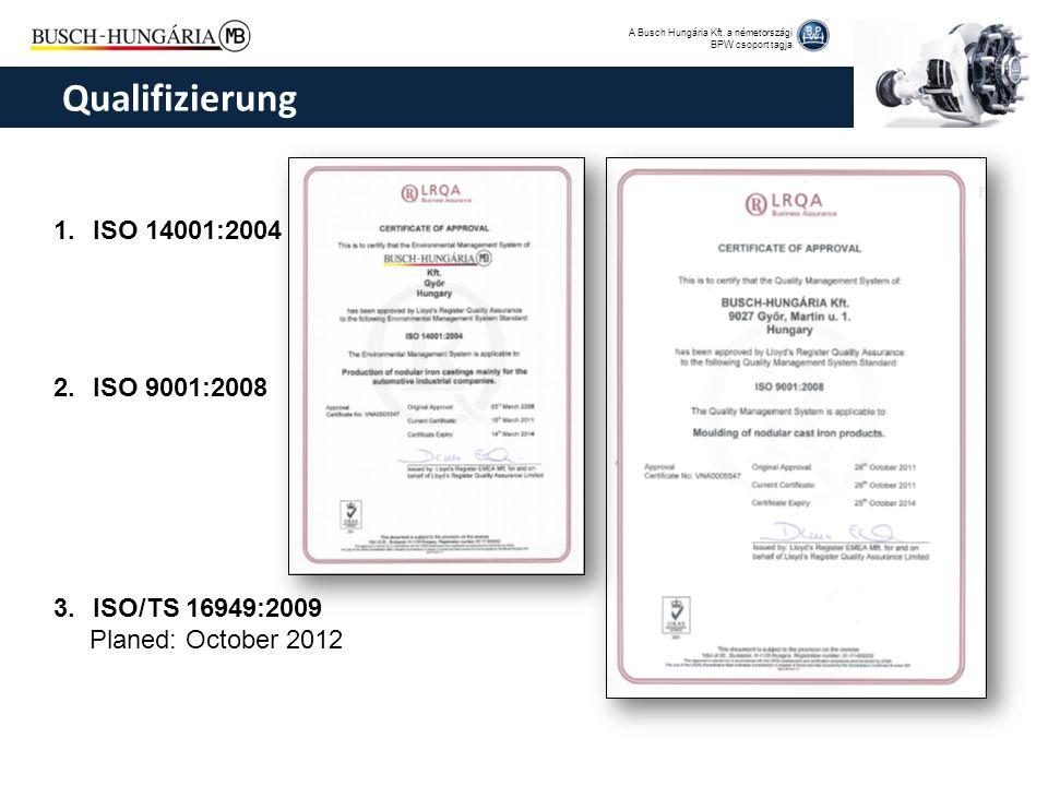 A Busch Hungária Kft. a németországi BPW csoport tagja 1.ISO 14001:2004 2.ISO 9001:2008 3.ISO/TS 16949:2009 Planed: October 2012 Qualifizierung