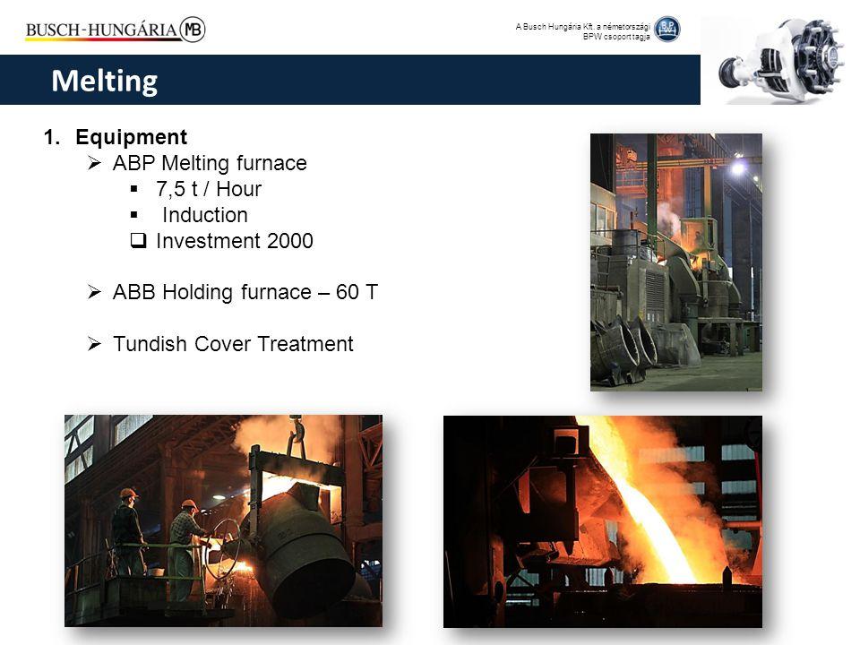 A Busch Hungária Kft. a németországi BPW csoport tagja 1.Equipment  ABP Melting furnace  7,5 t / Hour  Induction  Investment 2000  ABB Holding fu