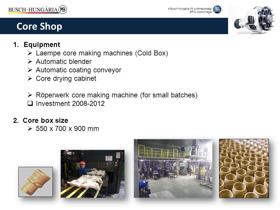 A Busch Hungária Kft. a németországi BPW csoport tagja 1.Equipment  Laempe core making machines (Cold Box)  Automatic blender  Automatic coating co