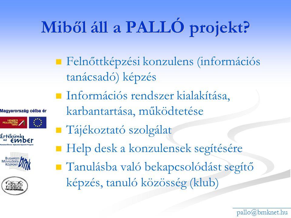 Miből áll a PALLÓ projekt? Felnőttképzési konzulens (információs tanácsadó) képzés Információs rendszer kialakítása, karbantartása, működtetése Tájéko