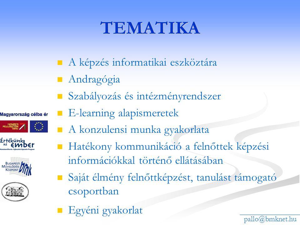 TEMATIKA A képzés informatikai eszköztára Andragógia Szabályozás és intézményrendszer E-learning alapismeretek A konzulensi munka gyakorlata Hatékony kommunikáció a felnőttek képzési információkkal történő ellátásában Saját élmény felnőttképzést, tanulást támogató csoportban Egyéni gyakorlat pallo@bmknet.hu