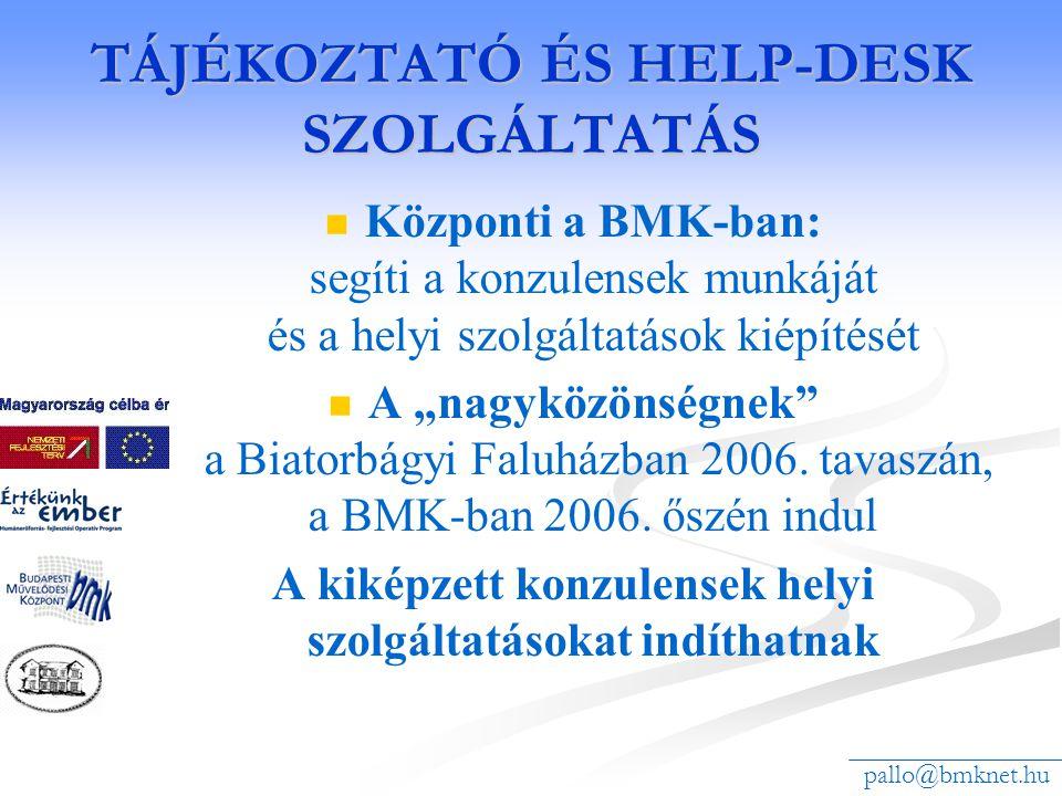 """TÁJÉKOZTATÓ ÉS HELP-DESK SZOLGÁLTATÁS Központi a BMK-ban: segíti a konzulensek munkáját és a helyi szolgáltatások kiépítését A """"nagyközönségnek"""" a Bia"""