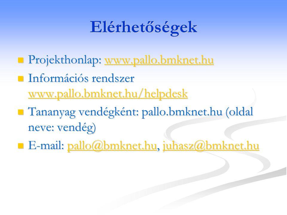 Elérhetőségek Projekthonlap: www.pallo.bmknet.hu Projekthonlap: www.pallo.bmknet.huwww.pallo.bmknet.hu Információs rendszer www.pallo.bmknet.hu/helpdesk Információs rendszer www.pallo.bmknet.hu/helpdesk www.pallo.bmknet.hu/helpdesk Tananyag vendégként: pallo.bmknet.hu (oldal neve: vendég) Tananyag vendégként: pallo.bmknet.hu (oldal neve: vendég) E-mail: pallo@bmknet.hu, juhasz@bmknet.hu E-mail: pallo@bmknet.hu, juhasz@bmknet.hupallo@bmknet.hujuhasz@bmknet.hupallo@bmknet.hujuhasz@bmknet.hu