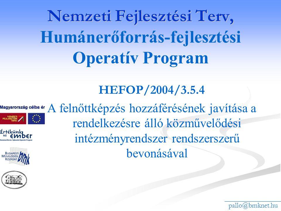 Nemzeti Fejlesztési Terv, Nemzeti Fejlesztési Terv, Humánerőforrás-fejlesztési Operatív Program HEFOP/2004/3.5.4 A felnőttképzés hozzáférésének javítása a rendelkezésre álló közművelődési intézményrendszer rendszerszerű bevonásával pallo@bmknet.hu
