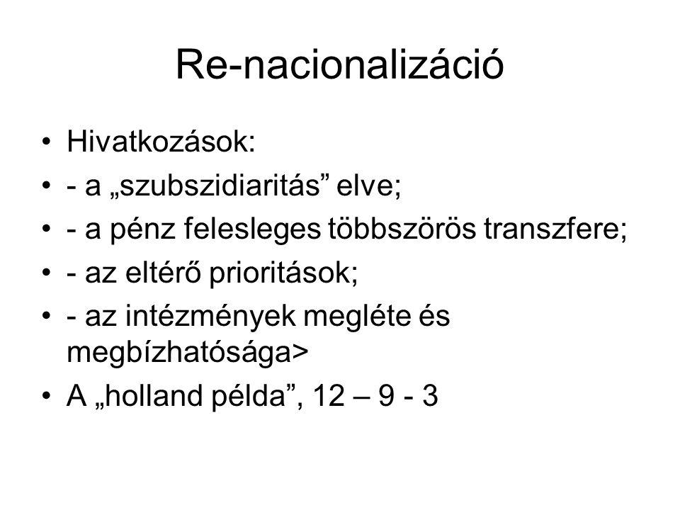"""Re-nacionalizáció Hivatkozások: - a """"szubszidiaritás elve; - a pénz felesleges többszörös transzfere; - az eltérő prioritások; - az intézmények megléte és megbízhatósága> A """"holland példa , 12 – 9 - 3"""