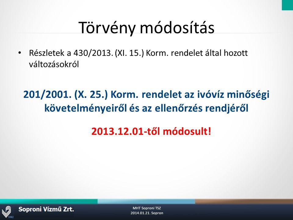 Törvény módosítás Részletek a 430/2013.(XI. 15.) Korm.