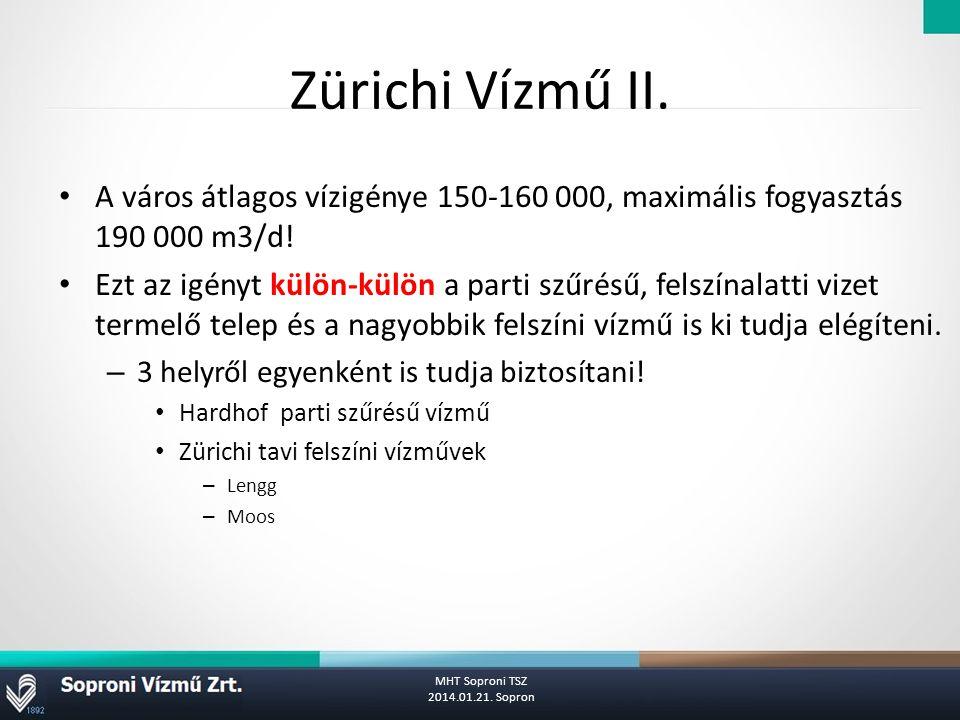 Zürichi Vízmű II.A város átlagos vízigénye 150-160 000, maximális fogyasztás 190 000 m3/d.