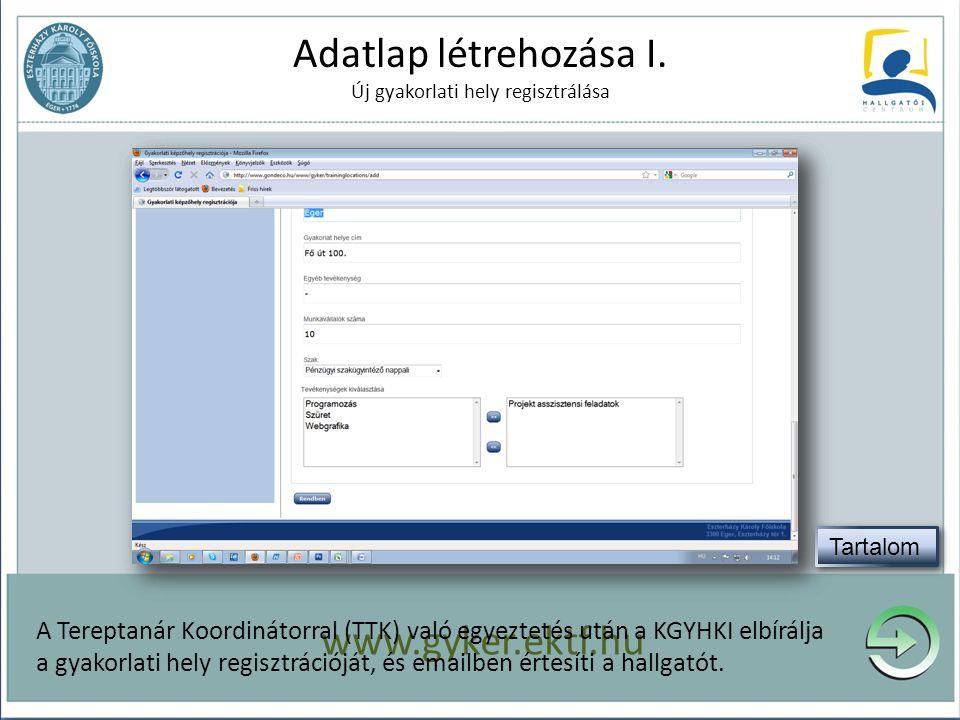 Adatlap létrehozása I. Új gyakorlati hely regisztrálása A gyakorlat megkezdése előtt töltse fel a szükséges információkat! www.gyker.ektf.hu A Terepta