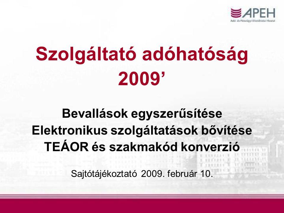 Szolgáltató adóhatóság 2009' Bevallások egyszerűsítése Elektronikus szolgáltatások bővítése TEÁOR és szakmakód konverzió Sajtótájékoztató 2009.