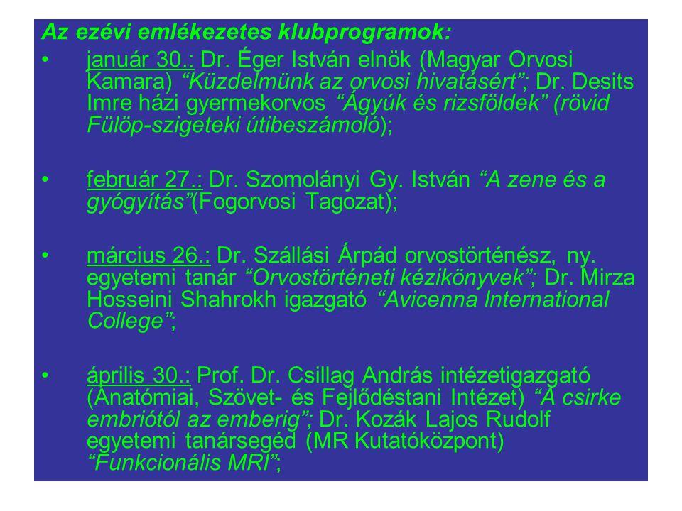 Az ezévi emlékezetes klubprogramok: január 30.: Dr.