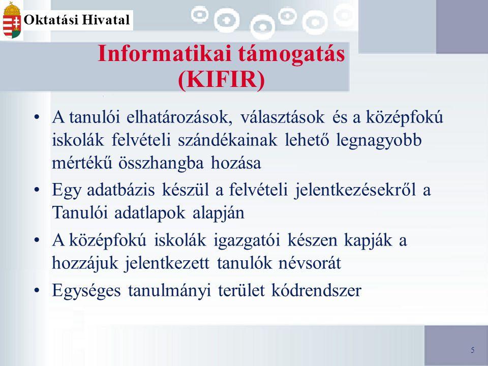 5 Informatikai támogatás (KIFIR) A tanulói elhatározások, választások és a középfokú iskolák felvételi szándékainak lehető legnagyobb mértékű összhangba hozása Egy adatbázis készül a felvételi jelentkezésekről a Tanulói adatlapok alapján A középfokú iskolák igazgatói készen kapják a hozzájuk jelentkezett tanulók névsorát Egységes tanulmányi terület kódrendszer 5 Oktatási Hivatal